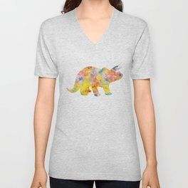 Yellow Triceratops Watercolor Painting Unisex V-Neck