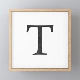 Letter T Initial Monogram Black and White Framed Mini Art Print