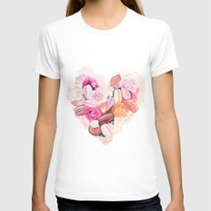Macaroons Heart SMALL Womens Fitted Tee White