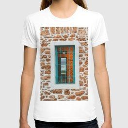 Blue window Santa Eulalia | Ibiza fineart travel photography | warm colored stones T-shirt