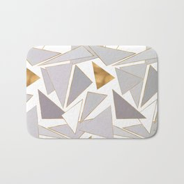 Modern Minimalist Gold Strokes Gray Triangles Bath Mat