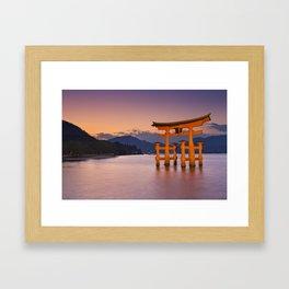 II - Miyajima torii gate near Hiroshima, Japan at sunset Framed Art Print