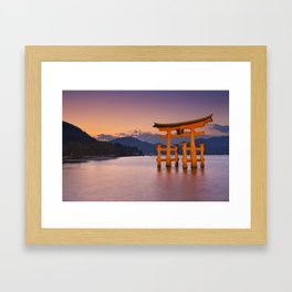 II - Miyajima torii gate near Hiroshima, Japan at sunset Framed Art Print