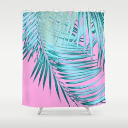 Palm Leaves Pink Blue Vibes #1 #tropical #decor #art #society6 Shower Curtain