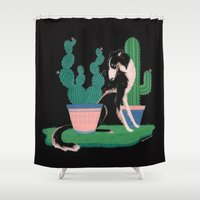 botanical Shower Curtains featuring Botanical by Hannah Lee Stockdale
