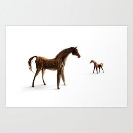 Wooden horses Art Print