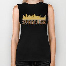 Vintage Style Syracuse New York Skyline Biker Tank