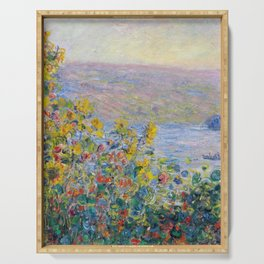1881 Claude Monet Flower Beds At Vétheuil Serving Tray