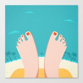 Feet on Beach Canvas Print