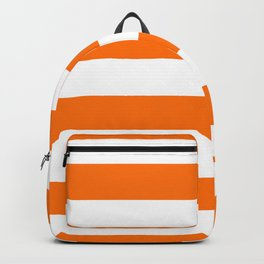 Living Coral and White Wide Horizontal Cabana Tent Stripe Backpack