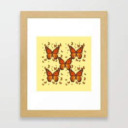 ORANGE MONARCH BUTTERFLIES CREAM  MODERN ART MONTAGE FOR the Framed Art Print