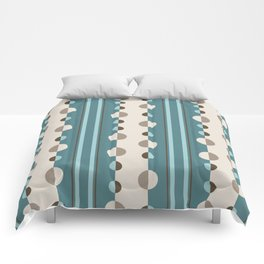 Circles and Stripes in Teal and Cream Comforters