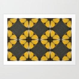 Yellow Butterfly Pattern Art Print