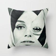 Frau mit Dreieck 2 Throw Pillow