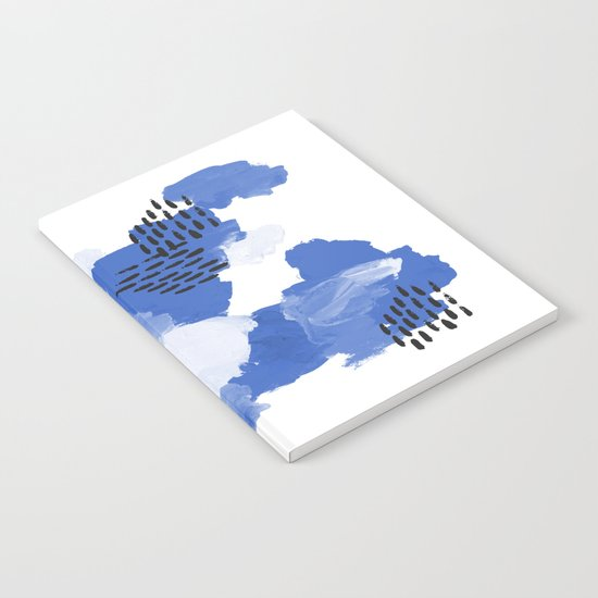 Painted blue abstract monochromatic minimal modern art painting dorm college gender neutral design Notebook
