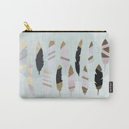 Gold Tipped Feathers Carry-All Pouch