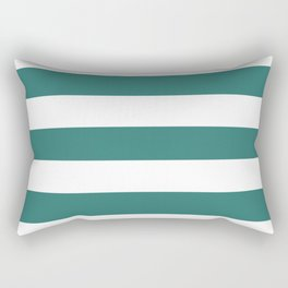 Myrtle green - solid color - white stripes pattern Rectangular Pillow