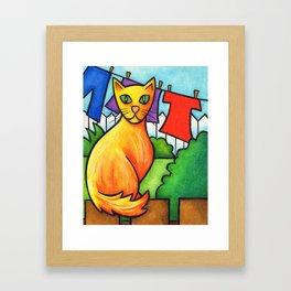 Cat On Fence Framed Art Print