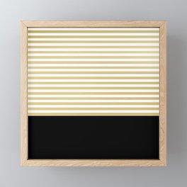 Luxury Modern Chic Stripes, Black, White, Gold Framed Mini Art Print