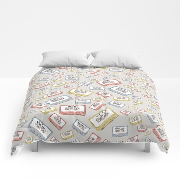 Primary Mixtapes on Neutral Grey Comforters