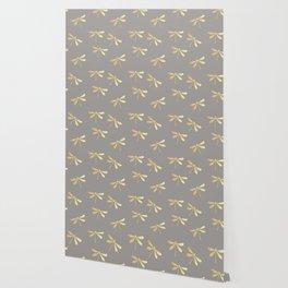 dragonfly pattern: gold & grey Wallpaper