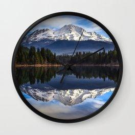 Mount Shasta Morning Reflection Wall Clock