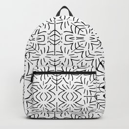 Black and White Ethnic Geometric Pattern Backpack