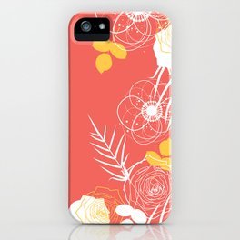 Coral Retro Floral iPhone Case