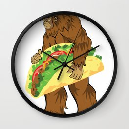 Bigfoot Carrying A Taco Cinco De Mayo design Wall Clock