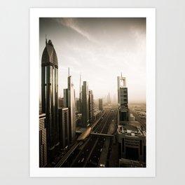Dubai sky line. Futuristic Cityscape. Art Print