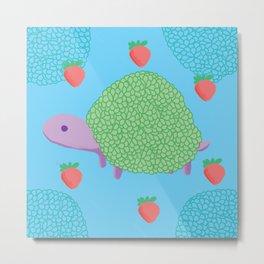Turtle Pillow Metal Print