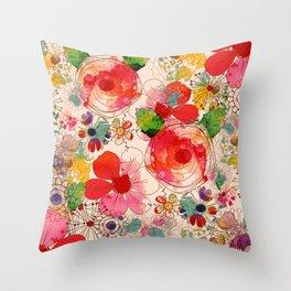 joyful floral decor Throw Pillow