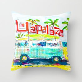 Lollapalooza Plaid Rad Beach Van Throw Pillow