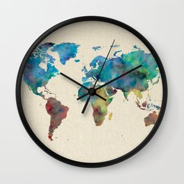 World Map Watercolor Linen Blue Red Yellow Green Wall Clock