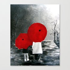 Black White Red mother and child with Umbrella print of painting rainy cloudy surrealism Canvas Print
