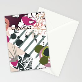 Modern feminine design - quirky 'bird' mixed media art - pinks, purples, blues, greens, grays Stationery Cards