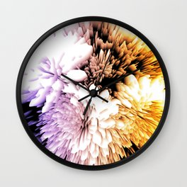 Mums abstract with shades of purple and gold Wall Clock