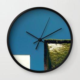 White Square, Green Square, Blue Sky Wall Clock