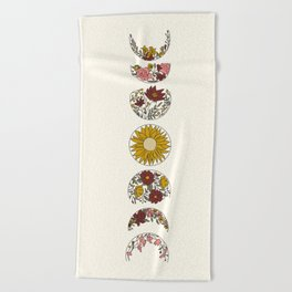 Floral Phases of the Moon Beach Towel