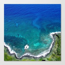 Colorful Tropical Bay Edged In Ocean Surf Water Canvas Print