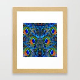 ARTY FEATHERY BLUE PEACOCK ABSTRACTED  FEATHERS ART Framed Art Print