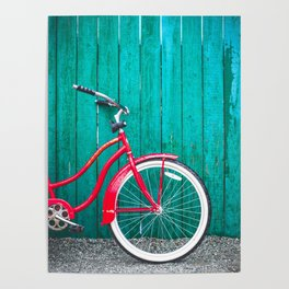 Red Retro Bicycle Poster