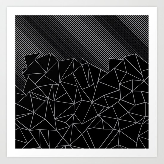 Ab Lines 45 Grey and Black Art Print