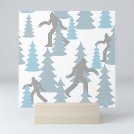 Pastel Blue Grey Winter Forest Yeti sasquatch silhouette  Abominable Snowman BigFoot  Mini Art Print