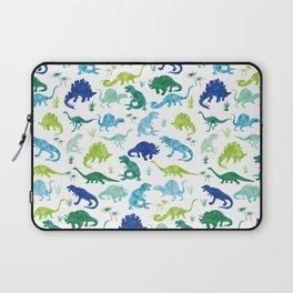 Watercolor Dinosaur Pattern White Green Blue Laptop Sleeve