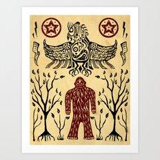 The Legend (Thunderbird Makes The Hairy Man Hide Himself) Art Print
