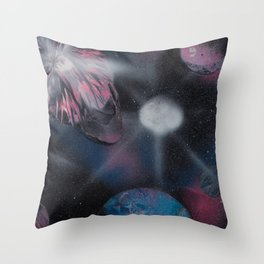 Exploding Planet Spacescape - Spray Paint Art Throw Pillow