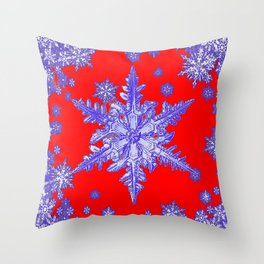 DECORATIVE PURPLE TINTED SNOWFLAKES ON RED Throw Pillow