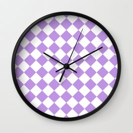 Diamonds - White and Light Violet Wall Clock