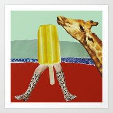 Ferdinand the Giraffe cools down Art Print
